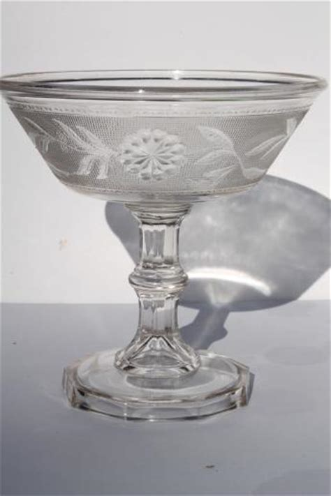 stippled Dahlia pattern antique glass compote bowl, Canton