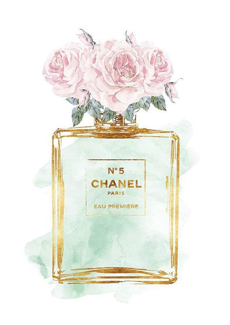 Chanel No5 Roses Mint watercolor with Gold effect by