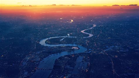 Wallpaper London, Cityscape, Sunset, Aerial view, River