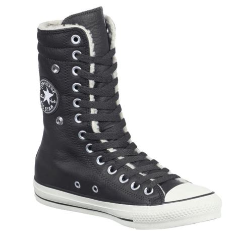 Converse Black All Star Furlined Leather Knee High Hi-Top