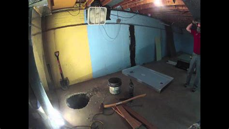 Basement Sump Pit trench dig - YouTube