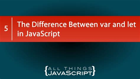 The Difference Between var and let in JavaScript - YouTube