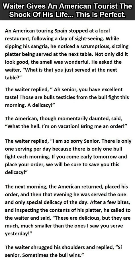 Waiter Gives An American Tourist The Shock Of His Life
