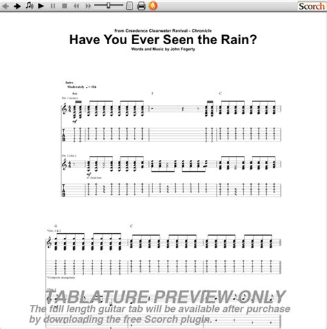 CCR Have You Ever Seen the Rain Guitar Tab