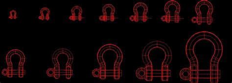 Screw Pin Anchor Shackles 3D DWG Model for AutoCAD